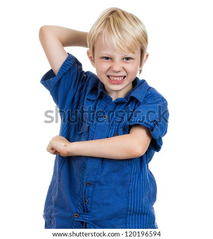 An aggressive young boy about to hit. Isolated on white. - stock photo