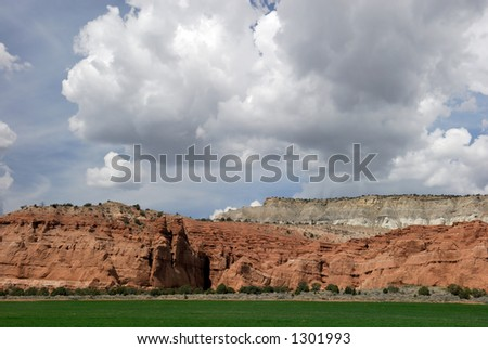 An agricultural field in America's beautiful southwestern desert. - stock photo