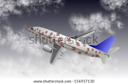 An airplane covered with dollar symbols with sky and clouds in the background / Airline business