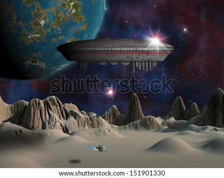 An alien space craft or UFO hovers over an alien moon with an earth-like planet in the background. - stock photo