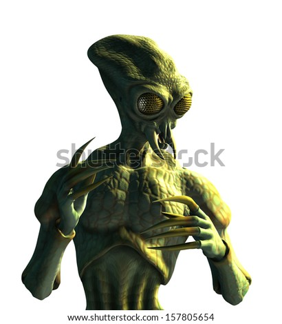 An alien that evolved from insects - 3D render on white. - stock photo