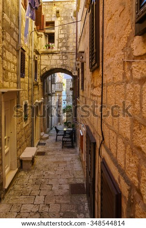 An alley in the old city of Korcula, in Dalmatia, Croatia - stock photo
