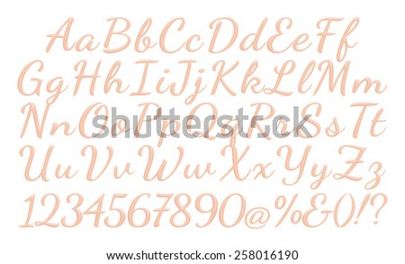 An Alphabet Set of 3D light red Letters and Numbers on white background. - stock photo
