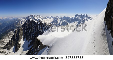 An Alps panoramic in the top of Chamonix, near to Mont blanc - stock photo