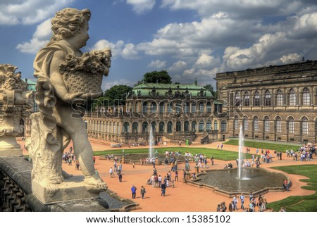 An amazing HDR image of the Zwinger Museum in Dresden, Germany - stock photo