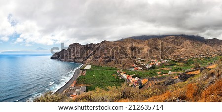 An amazing landscape from La Gomera the one of the Canary Islands, Spain - stock photo