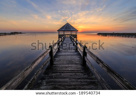 An amazing sunset on the Currituck Sound and the Outer Banks, North Carolina. - stock photo