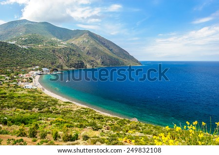 An amazing view of Filicudi island, Aeolian Islands, Sicily, Italy. - stock photo