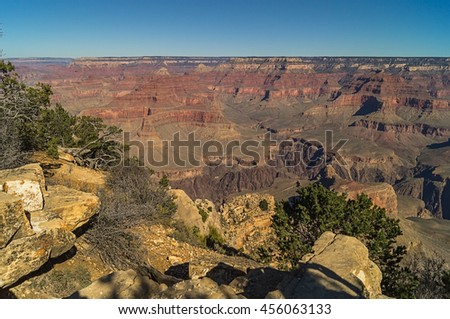An amazing view of the Grand canyon (south rim) Arizona, USA, against cloudy sky.
