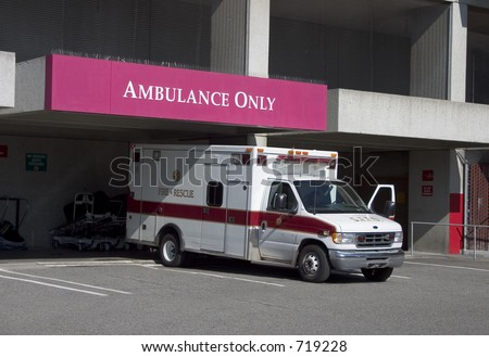 An ambulance has arrived at the hospitals emergency room.