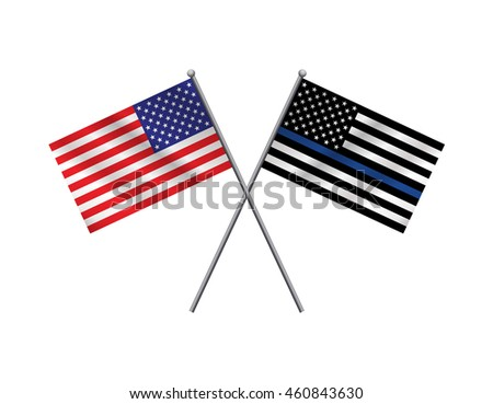 An American flag and police support flag isolated on a white background.