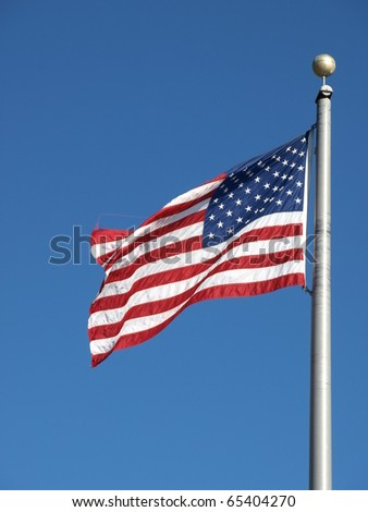 An american flag in the breeze