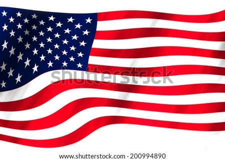 An American flag on white background.