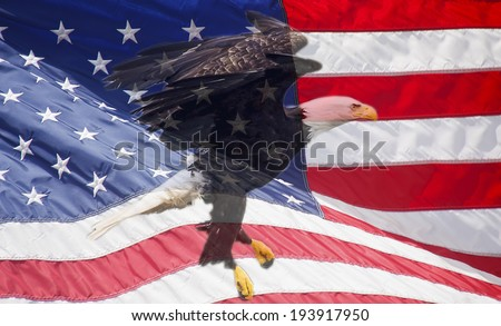 An American flag waving in the wind with Eagle