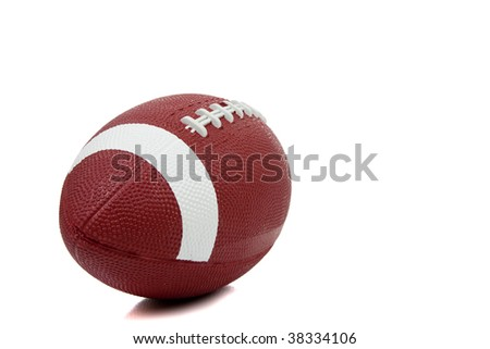An american football on a white background - stock photo