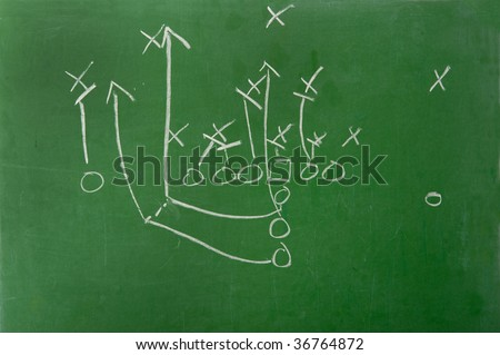 An American football play diagram on a green chalkboard - stock photo
