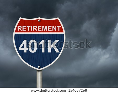 An American road interstate sign with words Retirement and 401k with stormy sky, Your 40k1 Retirement Fund