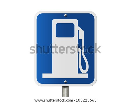 An American road sign with a gas pump symbol isolated on white, Gas Sign Direction Sign