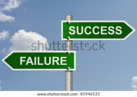 An American road sign with sky background and copy space for your message, The way to success or failure