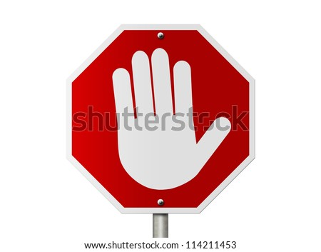 An American road stop sign with hand stop symbol isolated on white