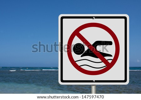 An American road warning sign at the beach with man swim and not symbol, Caution No Swimming allowed - stock photo