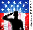 An American US military soldier from the armed forces in silhouette in uniform saluting in front of an American flag background of red white and blue stars and stripes. - stock photo