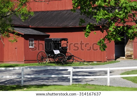 An Amish buggy parked by a red barn in summertime.