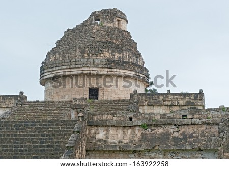 An ancient astronomical observatory in Chichen Itza Mayan city, Mexico  - stock photo