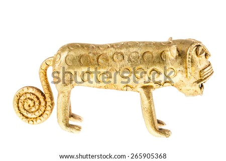 an ancient chinese golden lion statuette isolated over a white background - stock photo