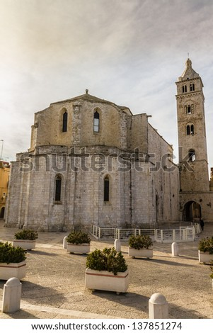 an ancient church located in a town named Barletta, in italy - stock photo