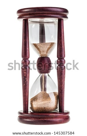 an ancient glass watch in a wooden frame isolated on white - stock photo