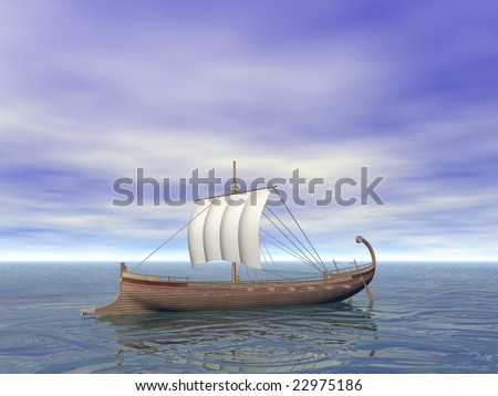 An Ancient Greek ship on the sea