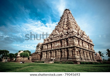 an ancient hindu temple in southern india - stock photo