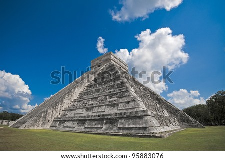 An ancient Mayan pyramid in Chichen Itza, Mexico. - stock photo