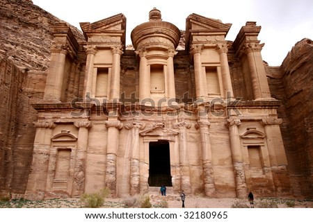 an ancient monastery in Petra - stock photo
