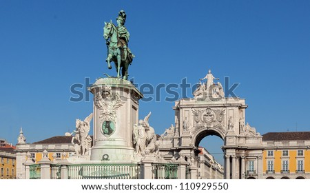 an ancient monument in the main square of Lisbon - Portugalan ancient monument in the main square of Lisbon - Portugal