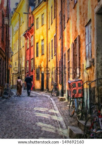 an ancient old street in the gamla stan area of stockholm shaded on a very hot summer day - stock photo
