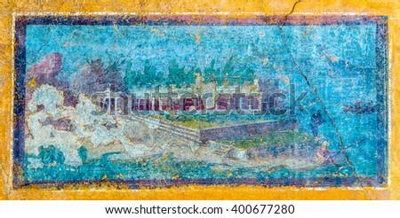 An ancient roman fresco in Pompeii - Italy - stock photo