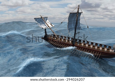 An ancient Roman warship at sea - 3d render with digital painting.