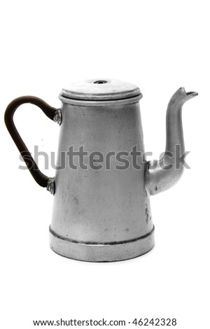 an ancient steel coffee pot typical of spain - stock photo