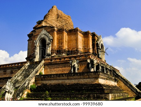 An Ancient Thailand temple in Chiang Mai - stock photo