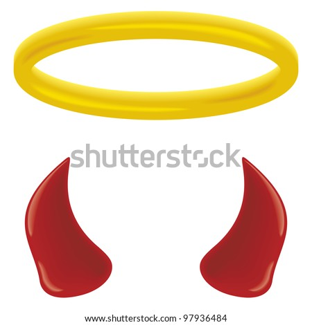 An angel's halo and devil's horns isolated on white. - stock photo