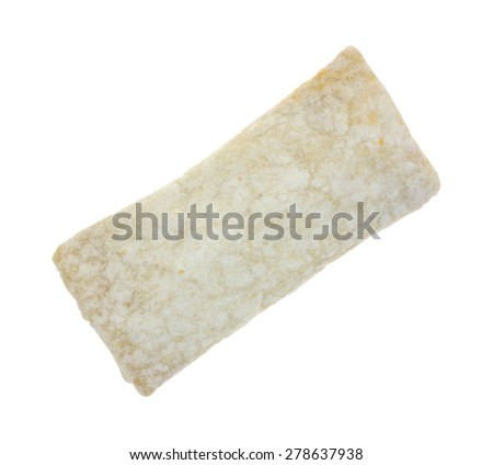 An angle view of a frozen breakfast burrito on a white background. - stock photo