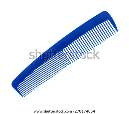 An angle view of a large blue comb on a white background. - stock photo