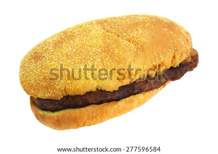 An angle view of a pork rib sandwich isolated on a white background. - stock photo