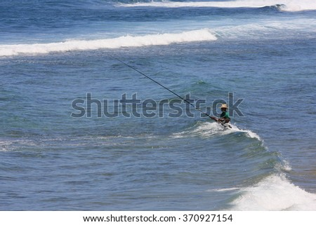 an angling in the sea