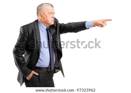 An angry boss firing an employee isolated on white background - stock photo