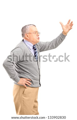 An angry mature man shouting, isolated on white background - stock photo