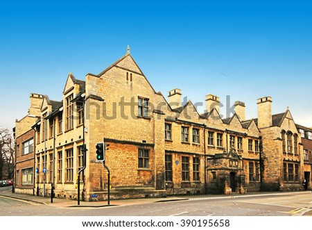 An anisotropic digital illustration of the Grantham Grammar School, Lincolnshire, UK - stock photo