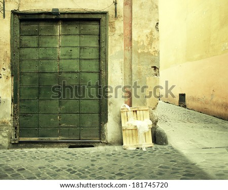 An antique and neglected facade with a big door and a side alley in Rome